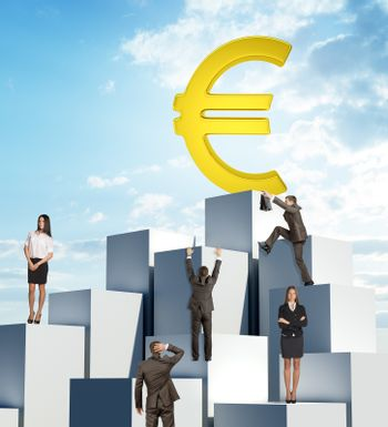Set of business people climbing pile of boxes for big euro sign