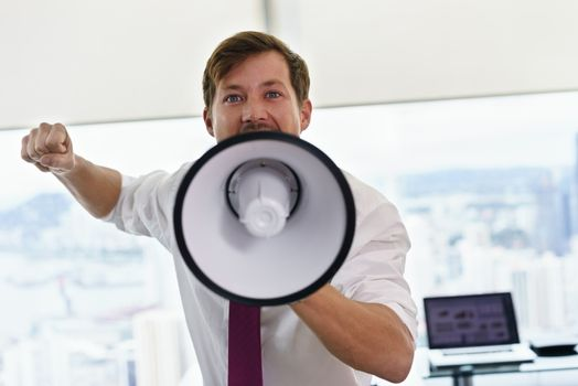 White Collar Worker With Megaphone Fighting For Labor Rights
