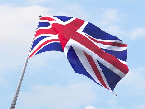 United Kingdom flag flying on clear sky.