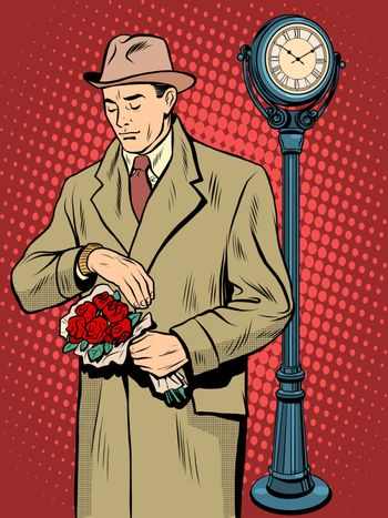 Dating love time watch man pop art retro style. Flowers for women. Romance and relationships. International womens day. Valentines day