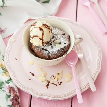 Mug cake with vanilla ice cream