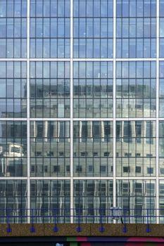 Reflecting skyscraper facade