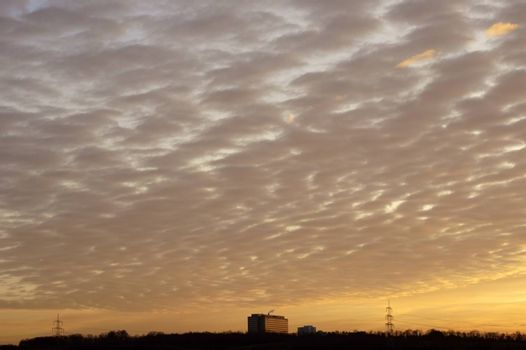 A sunset with bizarre cloud formations and a high-rise on the horizon.