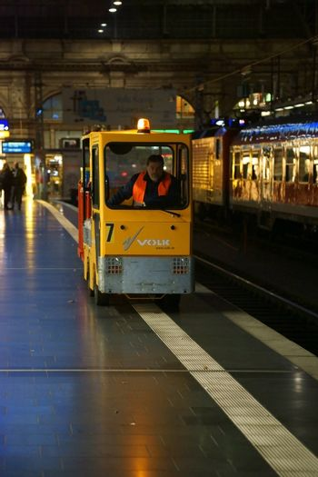 Frankfurt, Germany - November 14, 2015: The interior of the Frankfurt central station with a luggage trolley which drives along the platform on November 14, 2015 in Frankfurt.