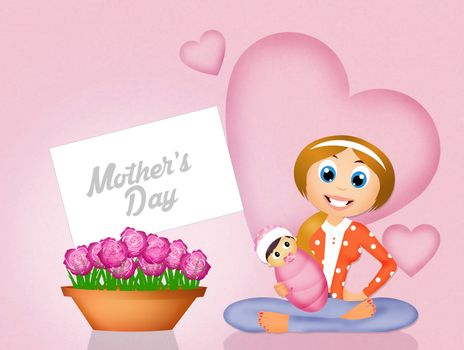 illustration of flowers for mothers day
