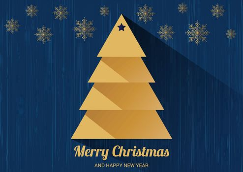 Christmas card with Christmas tree. Flat design style.