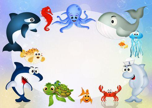 illustration of sea animals frame