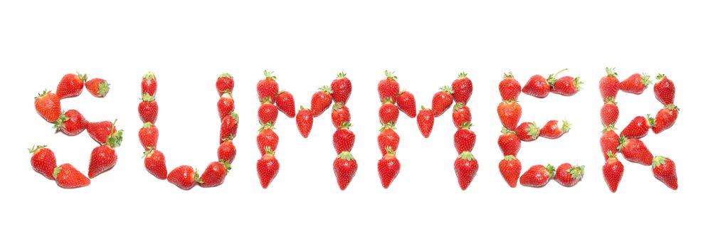 """SUMMER"" word wrote by strawberry health alphabet"