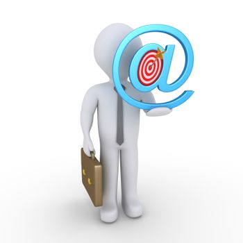 Businessman is holding an e-mail symbol with a target and arrow inside it