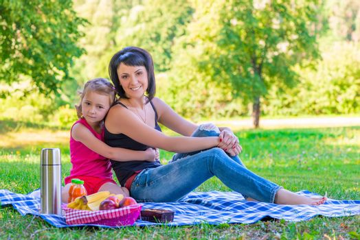 happy family on a picnic in the green lawn