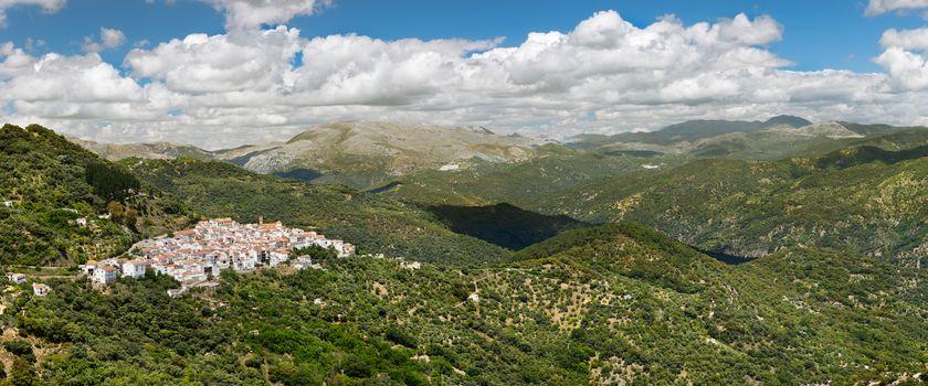 Panoramic view of White Village (Pueblos Blancos), Malaga, Andal