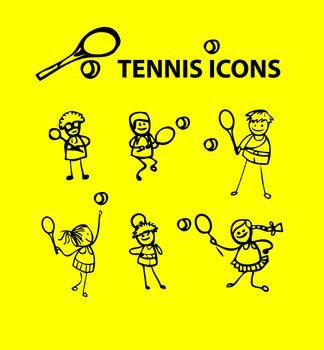 Tennis icons, yellow fake cartoon sport emblems
