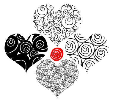 Tattoo flower hearts