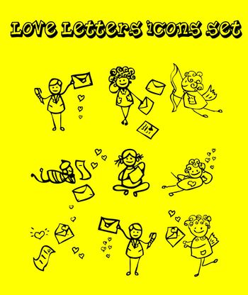 Letters of love icons set, tattoo design style, yellow background