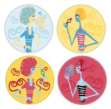 fake candy woman icons, emblem, sticker