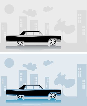 Retro car Cadillac fake paper card, city poster, vintage design