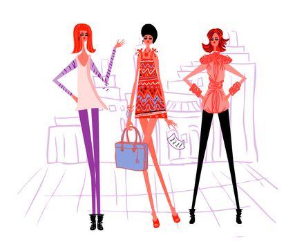 3 cartoon girl, modern woman vector illustration