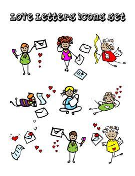 Letters of love icons set, kids design style, send message emblems