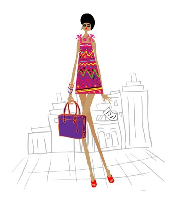 City girl, young business woman in cartoon style on white background
