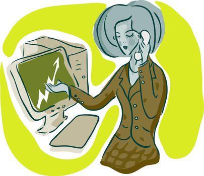 Bisiness woman at work emblem, icon, illustration