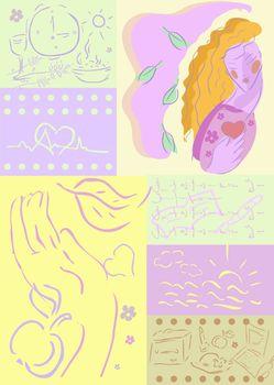 woman health background, medical, lifestyle illustration work, rest, food, care