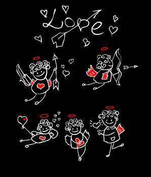 cartoon love, valentin's angel icon set, black background kids style card, design element