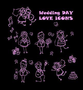 wedding love icons set, kids cartoon design, isolated wed people vector