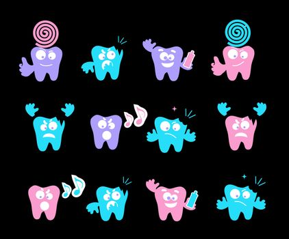 Happy smile, medical teeth care concept, vector emotions