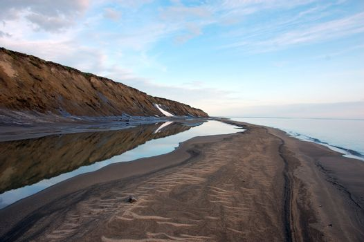 Arctic island summer calm sea coast