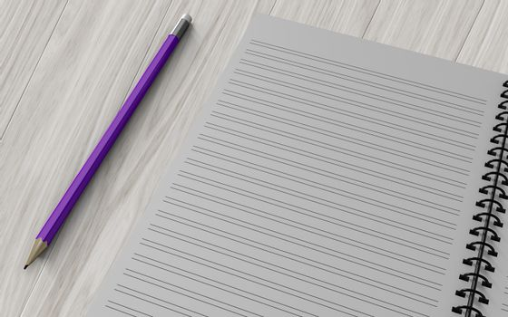 pencil on checked notebook on wood background