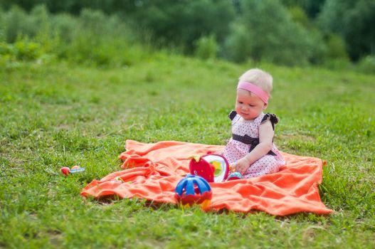 Little girl in cute dress portrait
