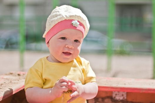 Little smiling baby portrait