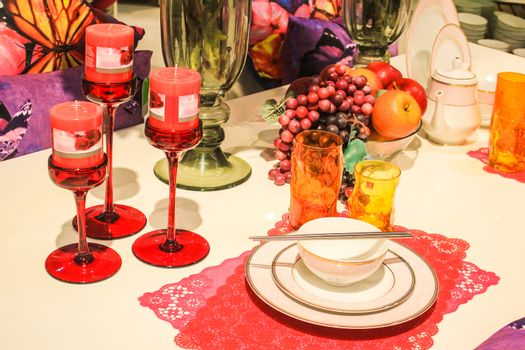 Luxury Dinner - Candle, dishes, grape, vine