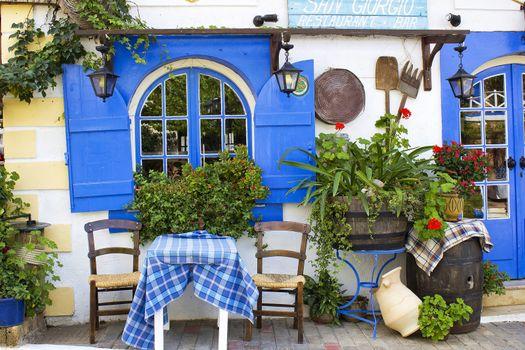 Table on the street outside Taverna in Malia, Crete