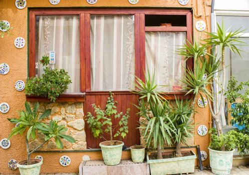 Window and many flower pots in old home in Malia (Crete, Greece)