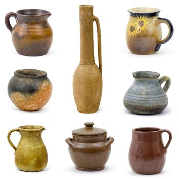 collection of old ceramic vases - collage