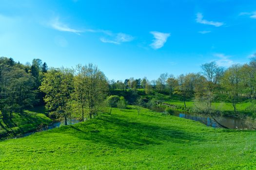 Spring landscape of green country park