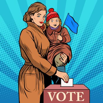 Mother and child women vote in elections