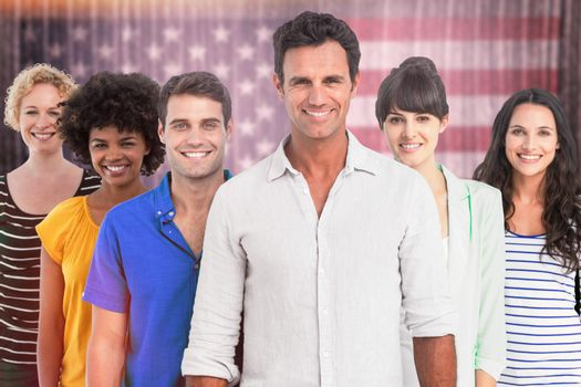 Portrait of creative team against composite image of usa national flag