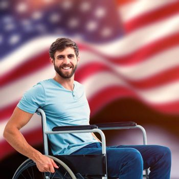 Young man in wheelchair against composite image of digitally generated united states national flag