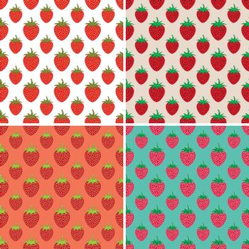 vector collection of seamless repeating strawberry patterns