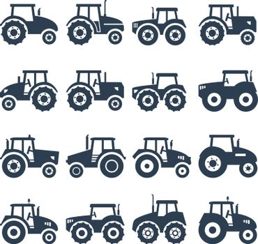 vector icons of a tractor