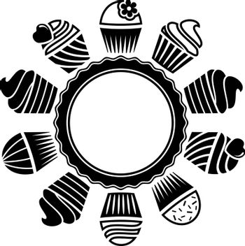 vector black and white cupcakes