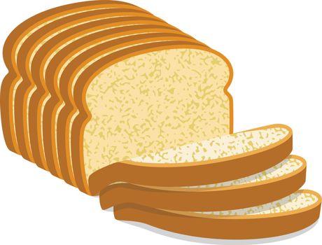 vector white bread slices