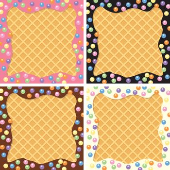 vector background collection of wafer and cream with sprinkles