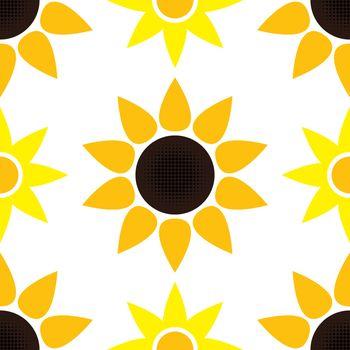 vector sunflower seamless pattern
