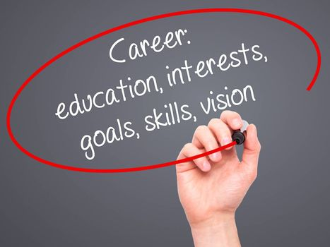 Man Hand writing Career: education, interests, goals, skills, vision with black marker on visual screen. Isolated on grey. Business, technology, internet concept.