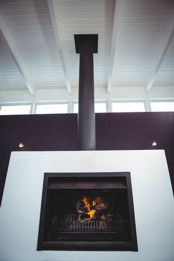 Fireplace set in wall
