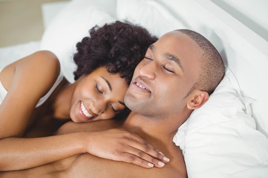 Peaceful couple on the bed