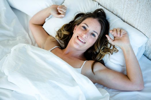 smiling woman, waking up in the  morning